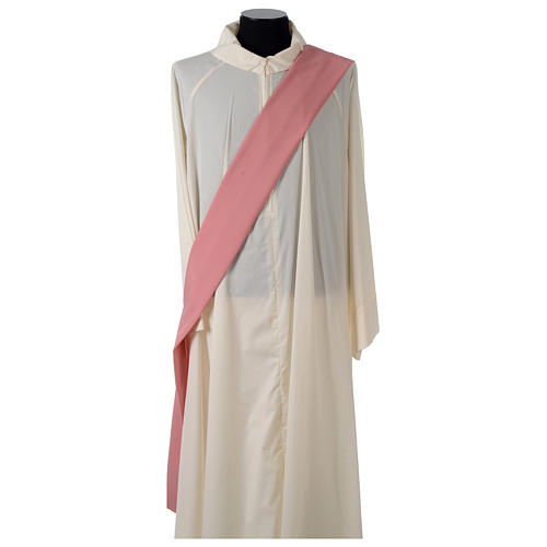 Rose Religious Dalmatic with front galloon in Vatican fabric 6