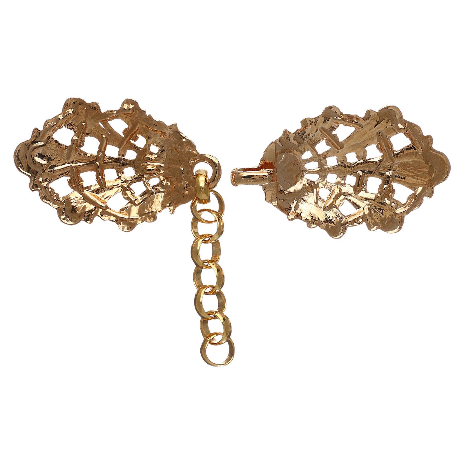 Gancio per piviale oro motivo foglie con catena 4