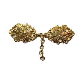 Gancio per piviale oro motivo foglie con catena s1