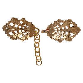 Gancio per piviale oro motivo foglie con catena s2