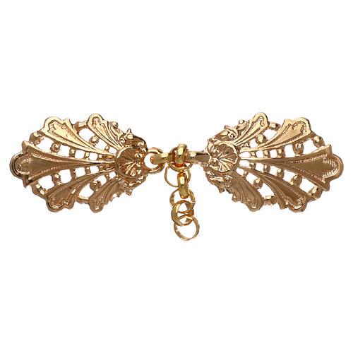 Gancio per piviale oro motivo foglie con catena 1