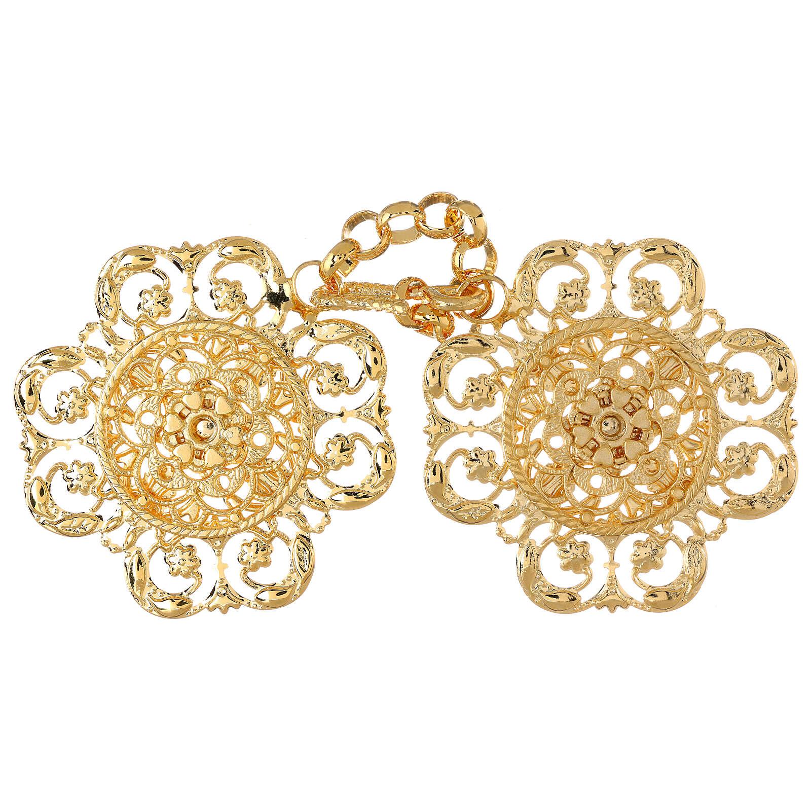Accroches chape or motif fleur avec chaîne 4