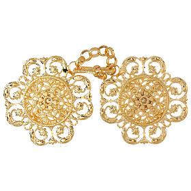 Accroches chape or motif fleur avec chaîne s1