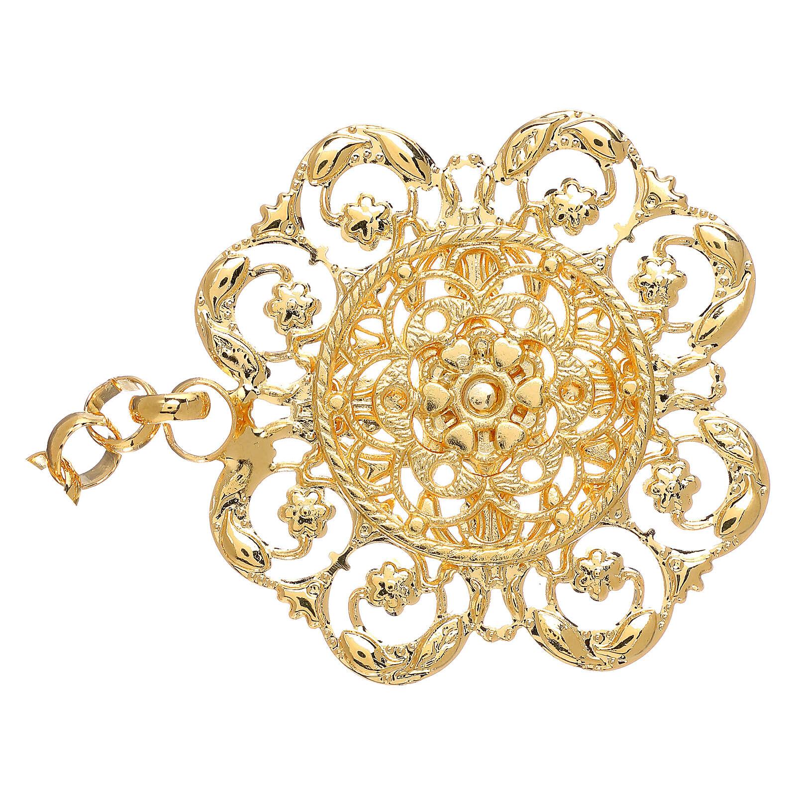 Gancio per piviale oro motivo fiore con catena 4