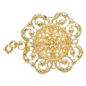 Gancio per piviale oro motivo fiore con catena s2