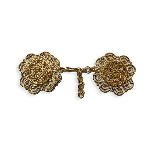 Gancio per piviale oro motivo fiore con catena 1