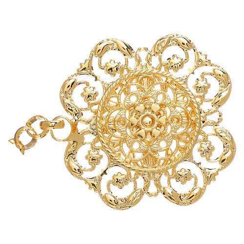 Gancio per piviale oro motivo fiore con catena 2