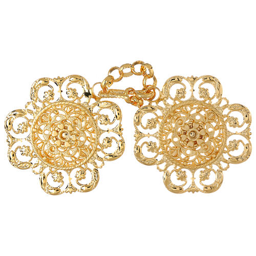 Cope clasp with chain, flower motif 1