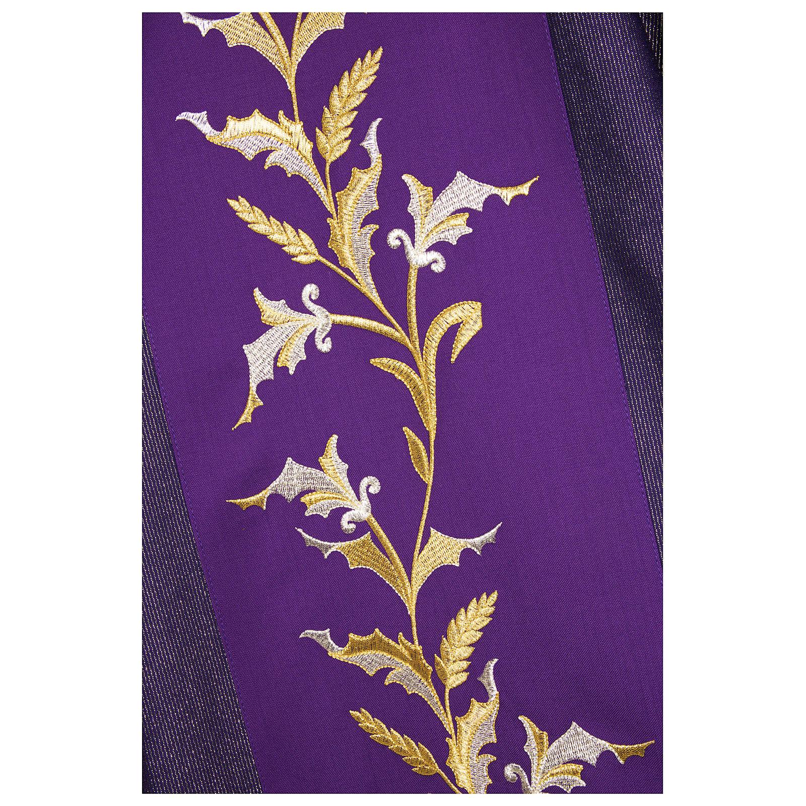 Dalmatica 93% lana 4% pol 3% viscosa ricamo spighe fascione tratteggio oro 4