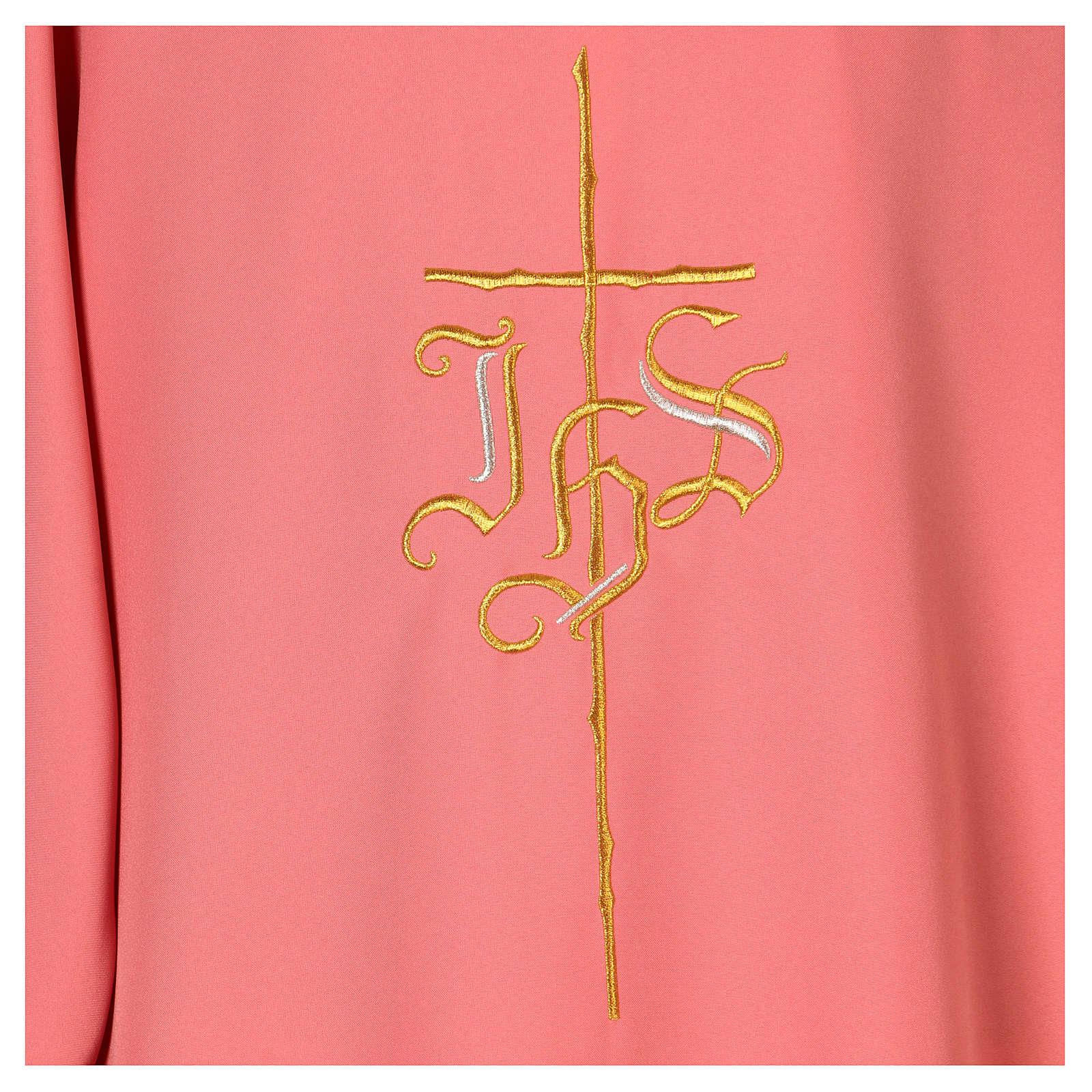 Dalmática rosa 100% poliéster cruz IHS 4