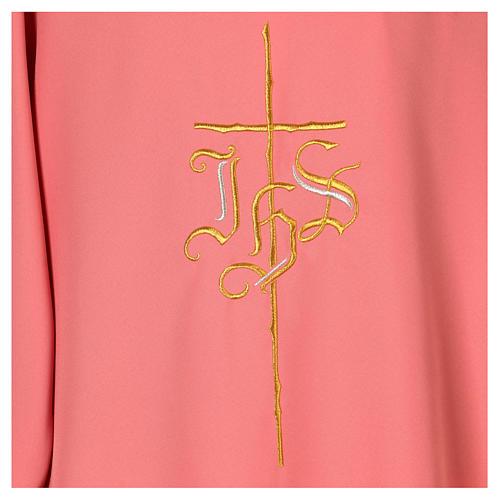Dalmatica rosa 100% poliestere croce IHS 4