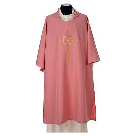 Piviali, pianete liturgiche, dalmatiche: Dalmatica 100% poliestere croce spighe IHS