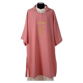 Dalmatica rosa 100% poliestere croce stilizzata spiga s1