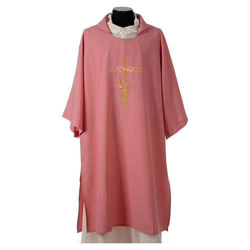 Dalmatica rosa 100% poliestere croce stilizzata spiga 1