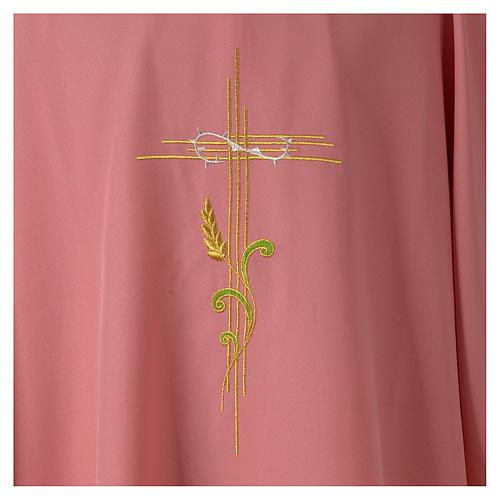 Dalmatica rosa 100% poliestere croce stilizzata spiga 2