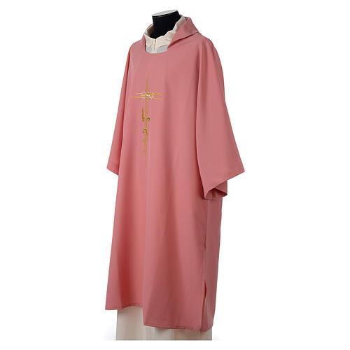 Dalmatica rosa 100% poliestere croce stilizzata spiga 3