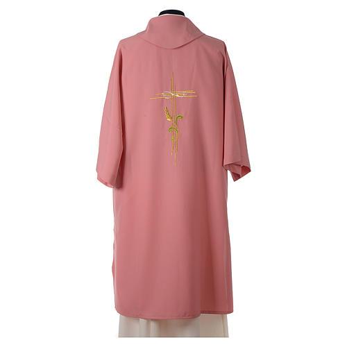 Dalmatica rosa 100% poliestere croce stilizzata spiga 4
