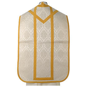 Roman chasuble in damask fabric with satin lining and golden braided edges s5