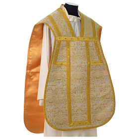 Roman chasuble in golden brocade fabric and satin lining, gold s4
