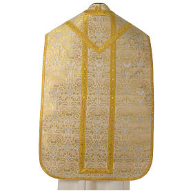 Roman chasuble in golden brocade fabric and satin lining, gold s5
