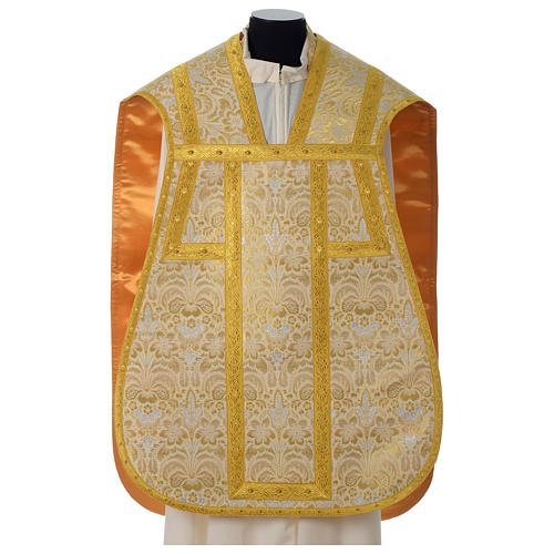 Roman chasuble in golden brocade fabric and satin lining, gold 1