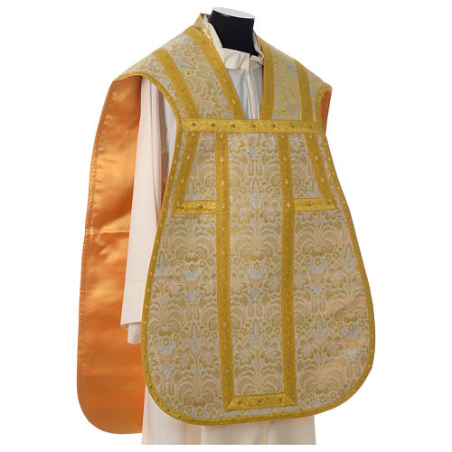 Roman chasuble in golden brocade fabric and satin lining, gold 4