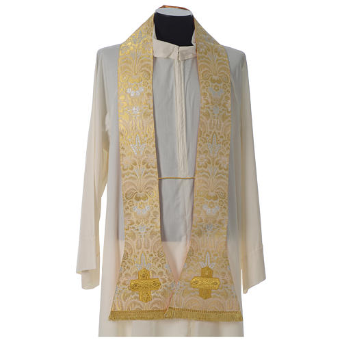 Roman chasuble in golden brocade fabric and satin lining, gold 6