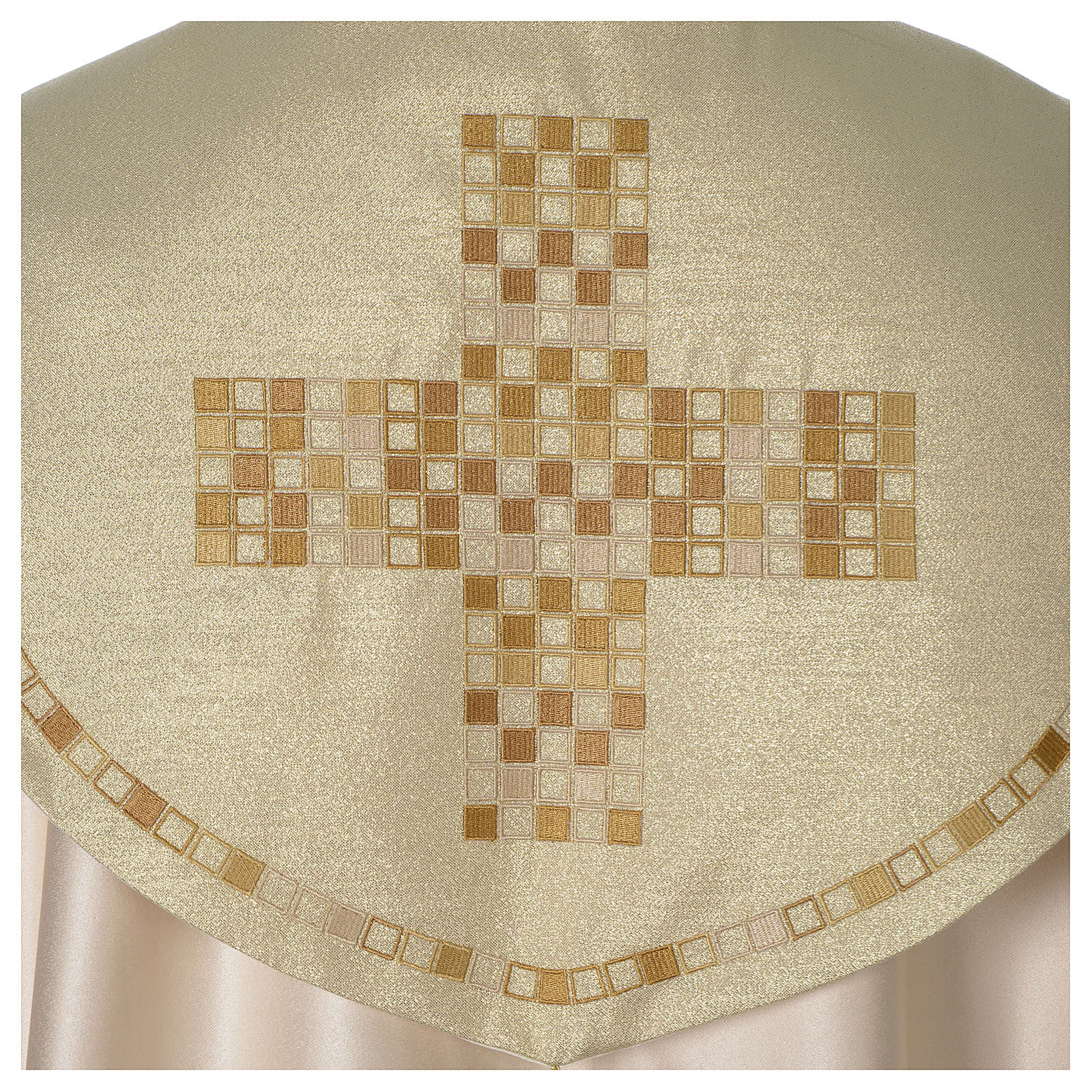 Piviale Croce moderna raso oro avorio 4