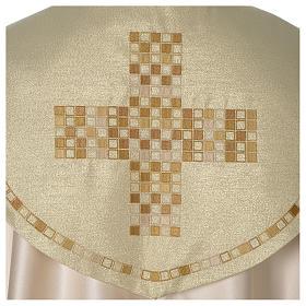 Piviale Croce moderna raso oro avorio s2