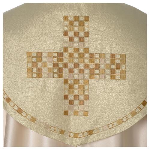 Piviale Croce moderna raso oro avorio 2