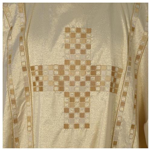 Dalmatica avorio lavorato oro Croce e gallone moderno 2