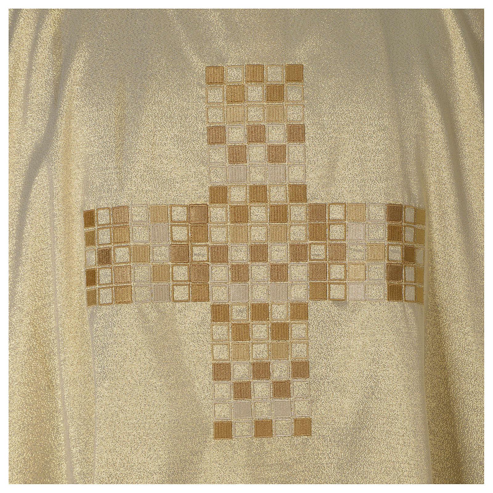 Dalmática marfil elaborada oro Cruz moderna 4