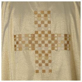 Dalmática marfil elaborada oro Cruz moderna s2