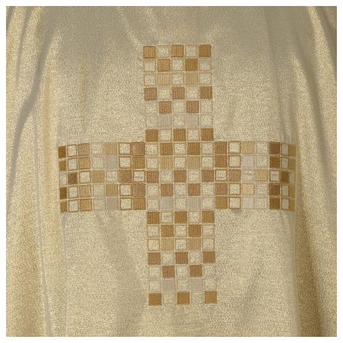 Dalmática marfil elaborada oro Cruz moderna 2
