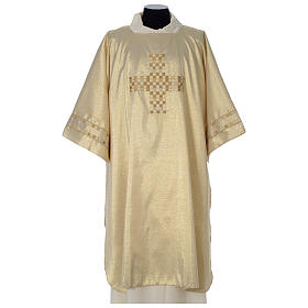 Gold deacon dalmatic with modern cross s1