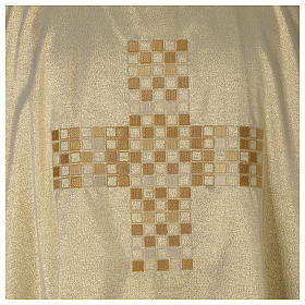 Gold deacon dalmatic with modern cross s2