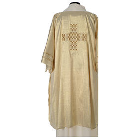 Gold deacon dalmatic with modern cross s4
