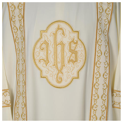 Dalmatic with golden decoration and IHS, ivory 2