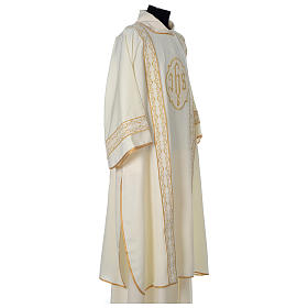 Dalmatic with gold embroidered lateral bands and IHS symbol s4