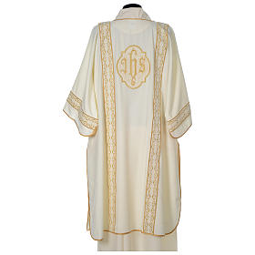 Dalmatic with gold embroidered lateral bands and IHS symbol s5