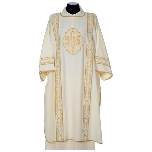 Dalmatic with gold embroidered lateral bands and IHS symbol 1