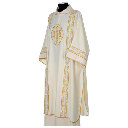 Dalmatic with gold embroidered lateral bands and IHS symbol 3