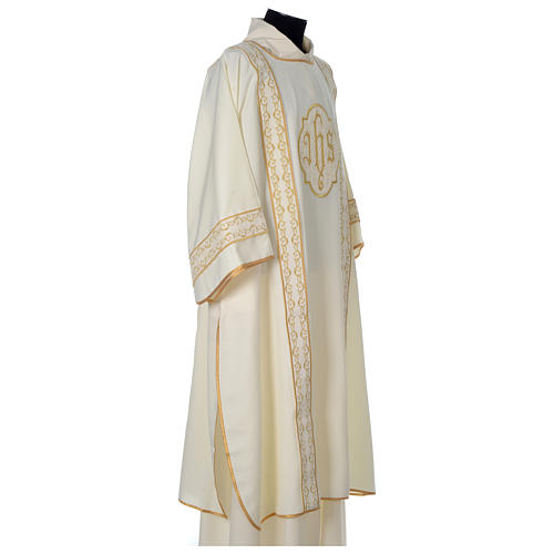 Dalmatic with gold embroidered lateral bands and IHS symbol 4