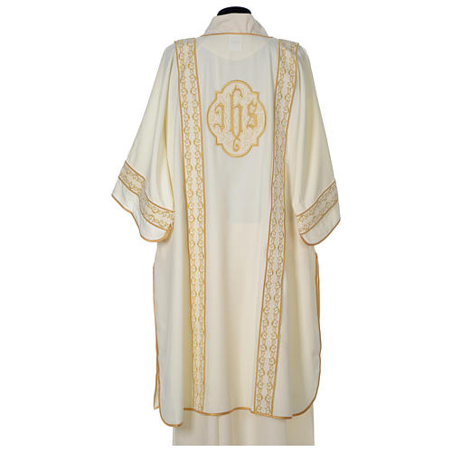 Dalmatic with gold embroidered lateral bands and IHS symbol 5