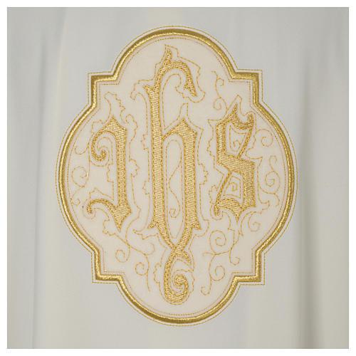 Dalmatica avorio IHS velluto oro 2