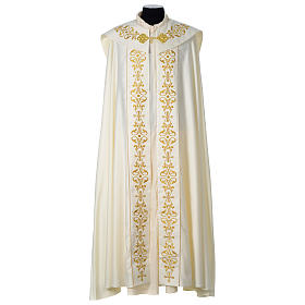 Cope with IHS embroidery and golden decoration on gallon, ivory s1