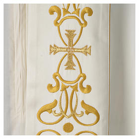 Cope with IHS embroidery and golden decoration on gallon, ivory s2