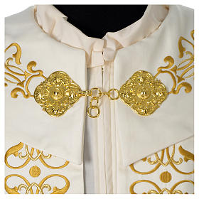 Cope with IHS embroidery and golden decoration on gallon, ivory s4