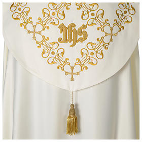 Cope with IHS embroidery and golden decoration on gallon, ivory s5