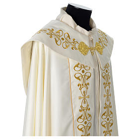 Cope with IHS embroidery and golden decoration on gallon, ivory s6